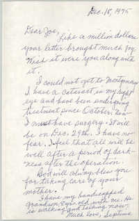 Letter from Septima P. Clark to Josephine Rider, December 18, 1975