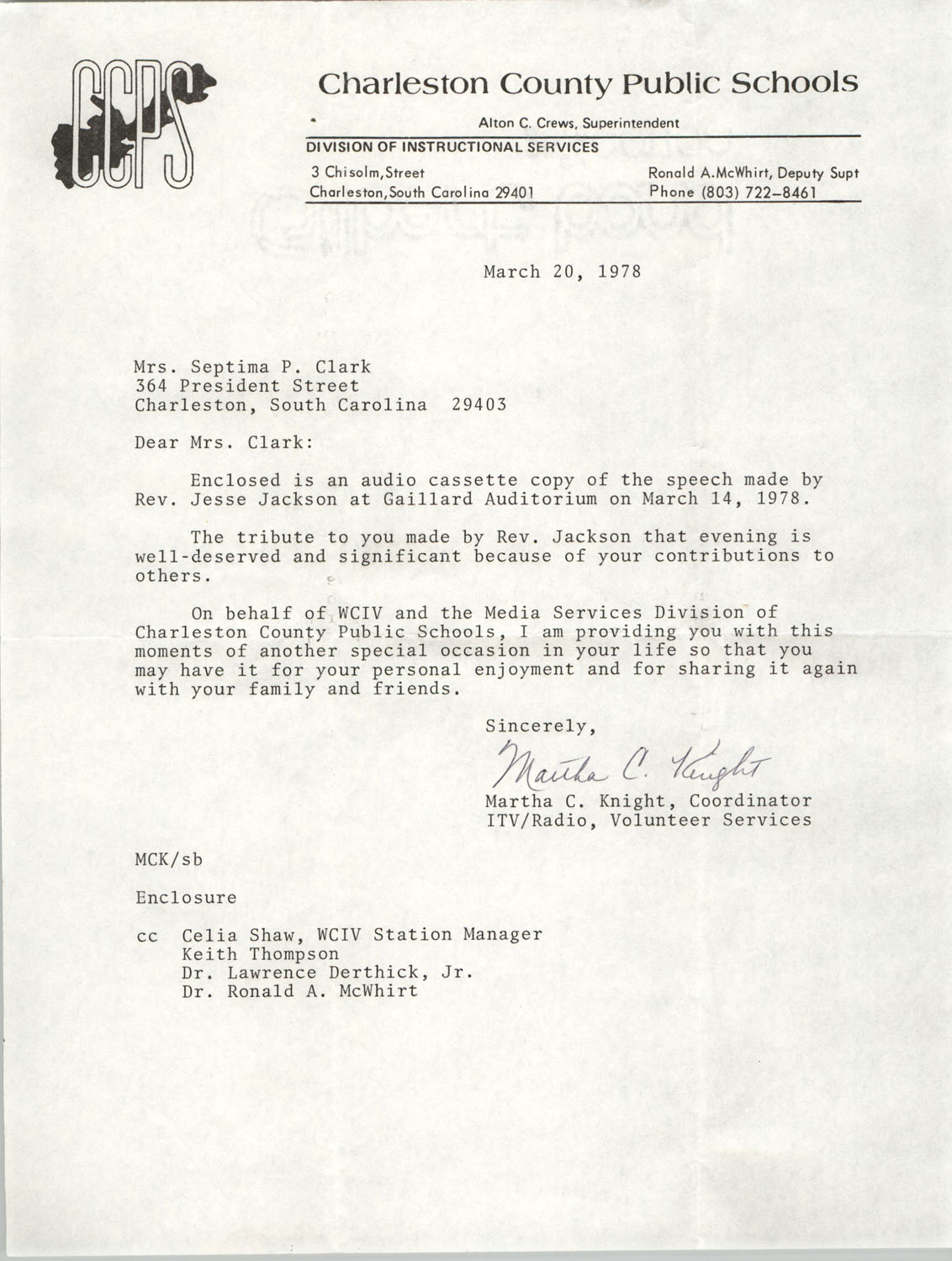 Letter from Martha C. Knight to Septima P. Clark, March 20, 1978