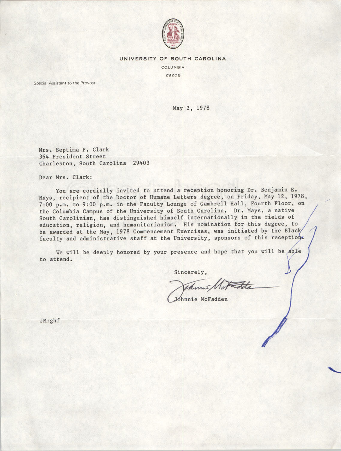 Letter from Johnnie McFadden to Septima P. Clark, May 2, 1978