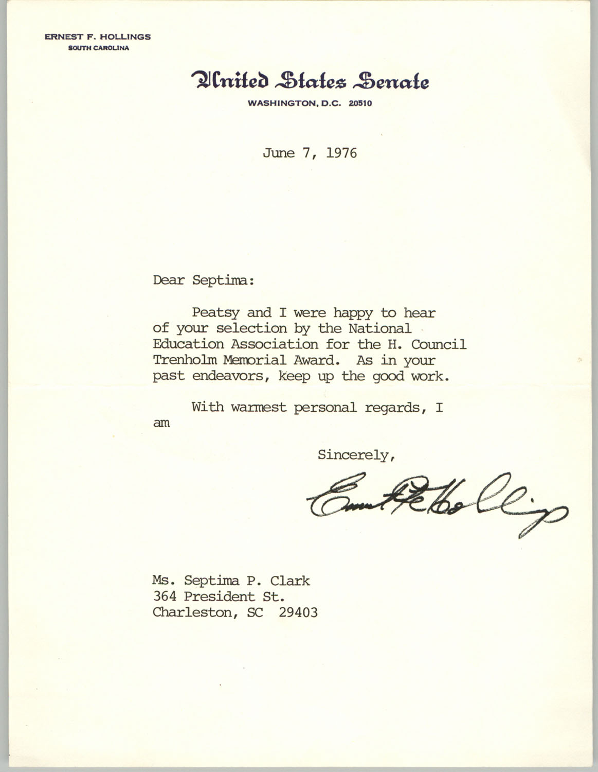 Letter from Ernest F. Hollings to Septima Clark, June 7, 1976