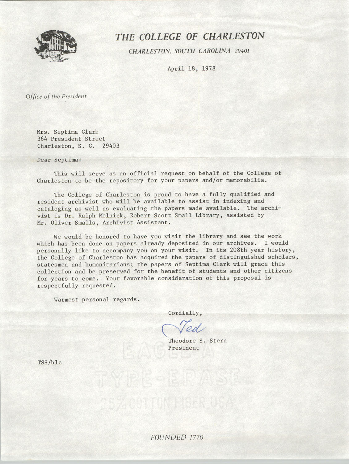 Letter from Theodore S. Stern to Septima P. Clark, April 18, 1978