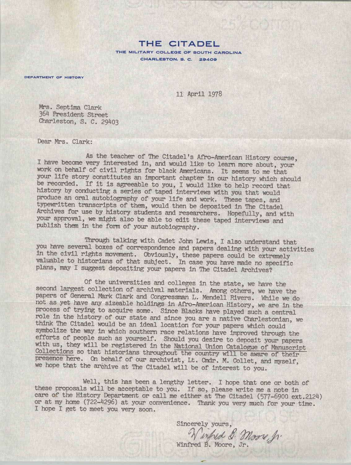 Letter from Winfred B. Moore, Jr. to Septima P. Clark, April 11, 1978
