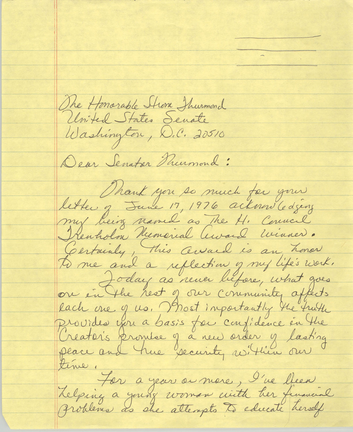 Letter from Septima P. Clark to Strom Thurmond, June 1976