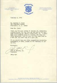 Letter from John M. Rivers, Jr. to Septima P. Clark, February 2, 1976