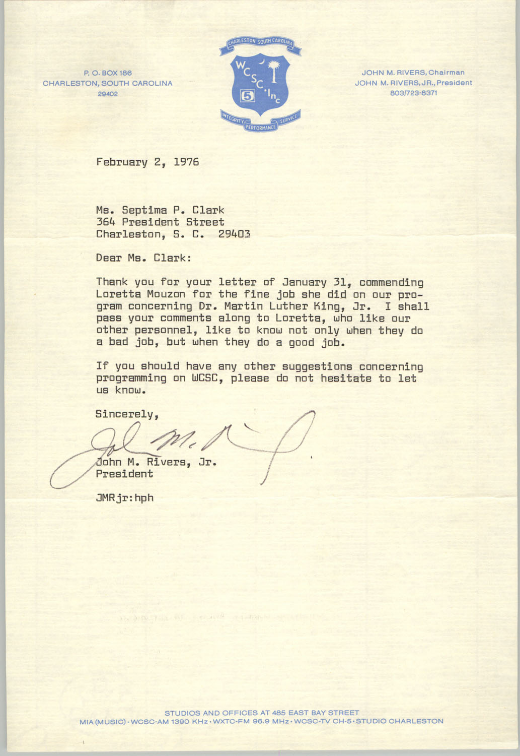 Letter from John M. Rivers, Jr. to Septima P. Clark, February 2, 1976