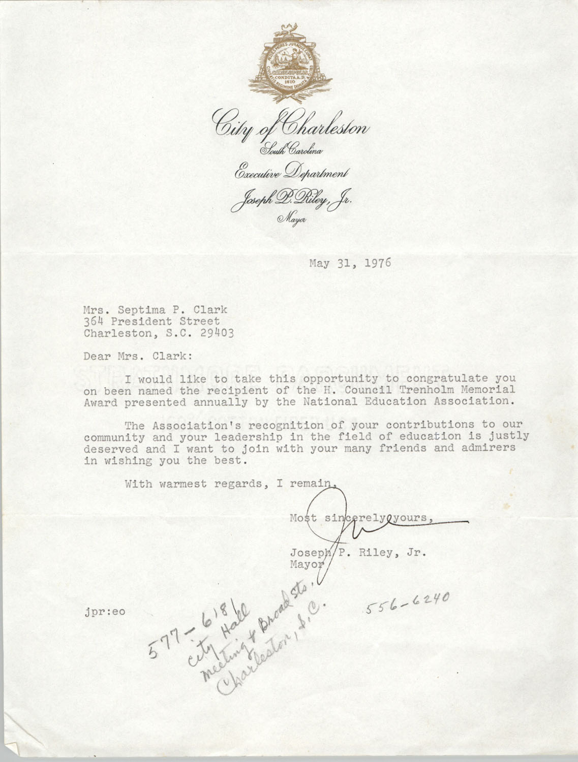 Letter from Joseph P. Riley, Jr. to Septima Clark, May 31, 1976