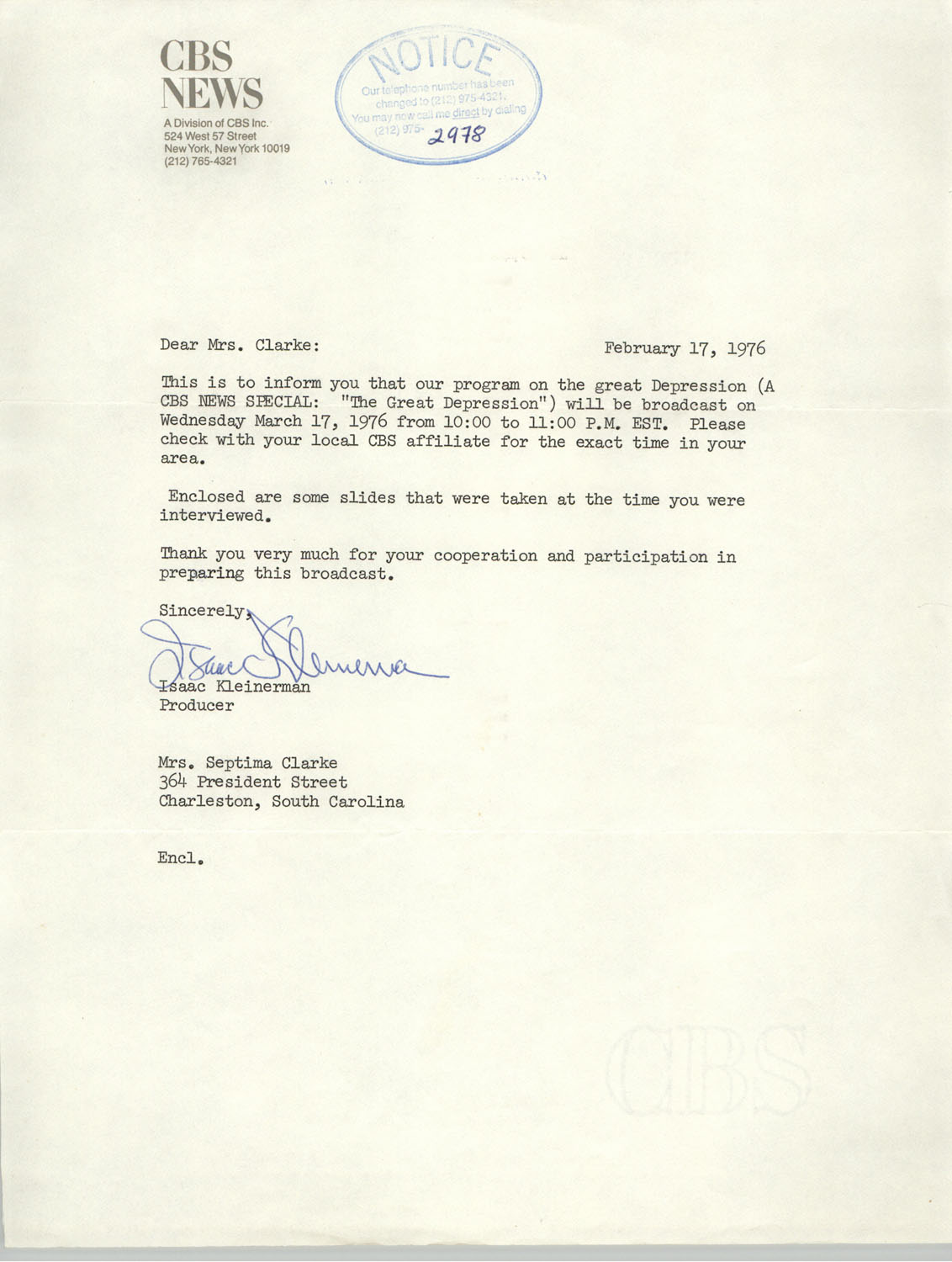 Letter from Isaac Kleinerman to Septima Clark, February 17, 1976