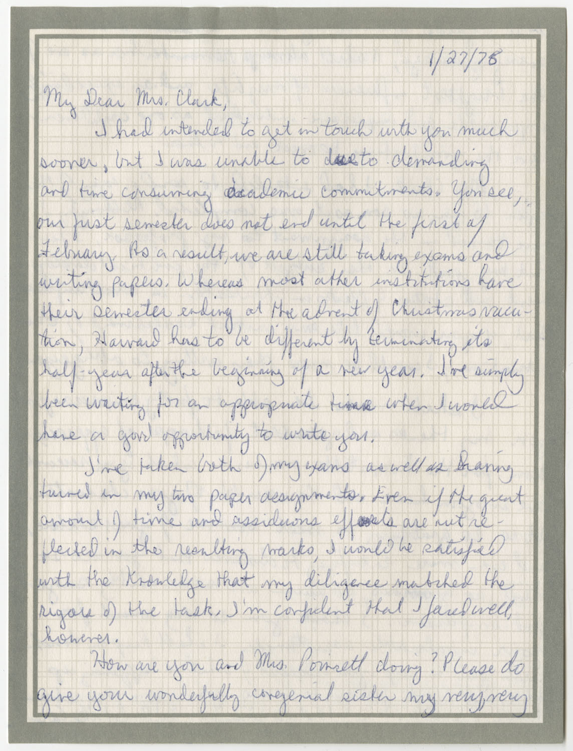 Letter from Tony L. Richardson to Septima P. Clark, January 27, 1976