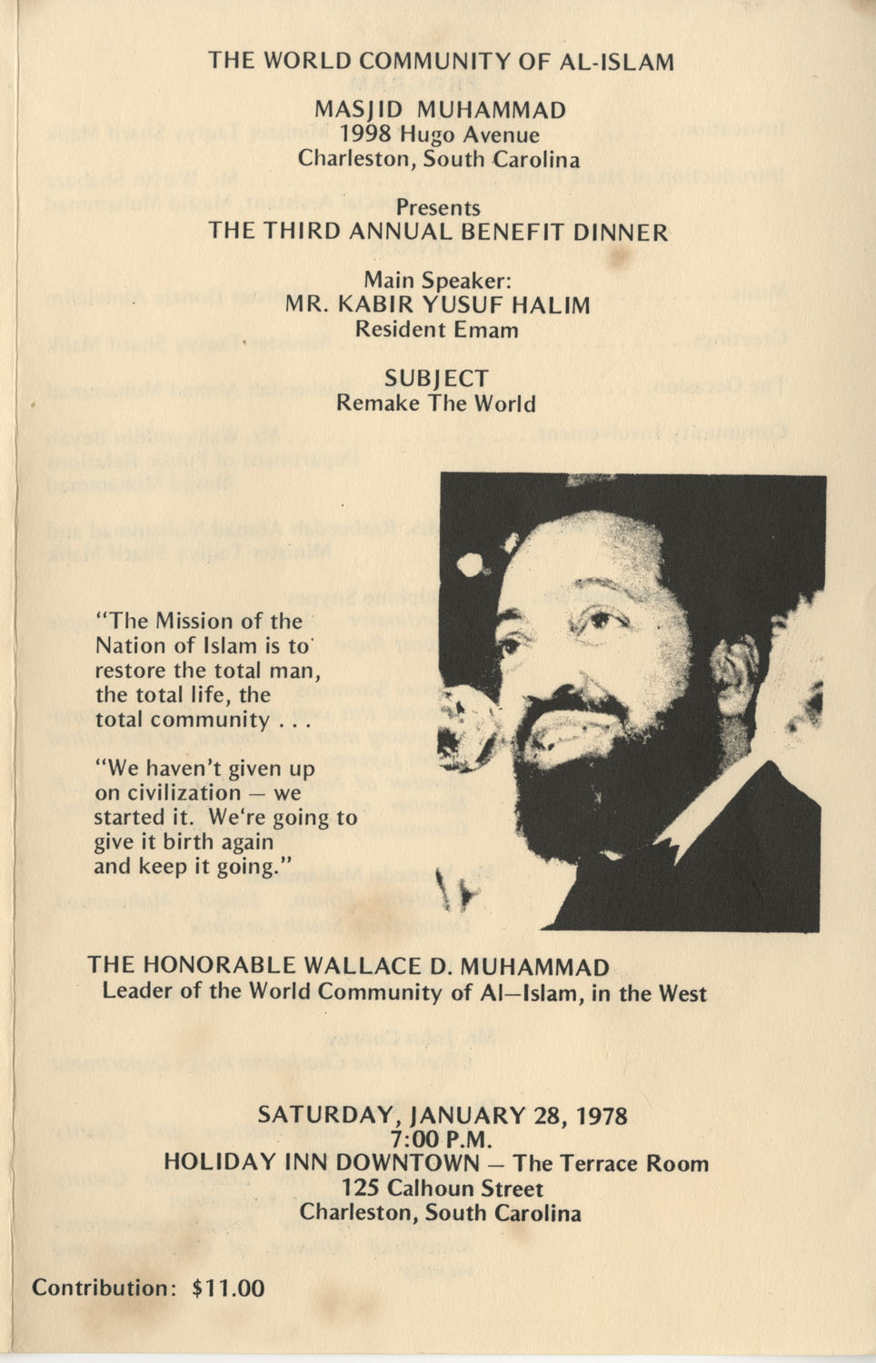 Program to the World Communist of Al-Islam's Third Annual Benefit Dinner