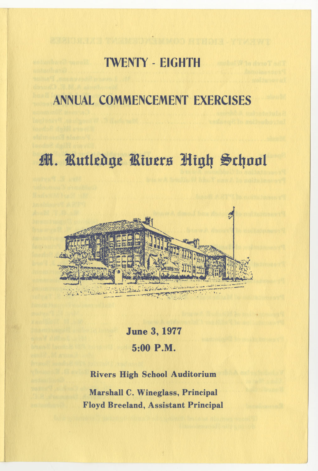 Twenty-Eighth Annual Commencement Exercises for Rivers High School