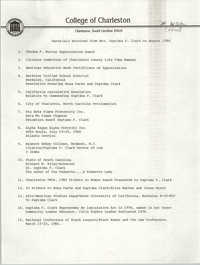 Materials Received from Mrs. Septima P. Clark on August 1984, College of Charleston