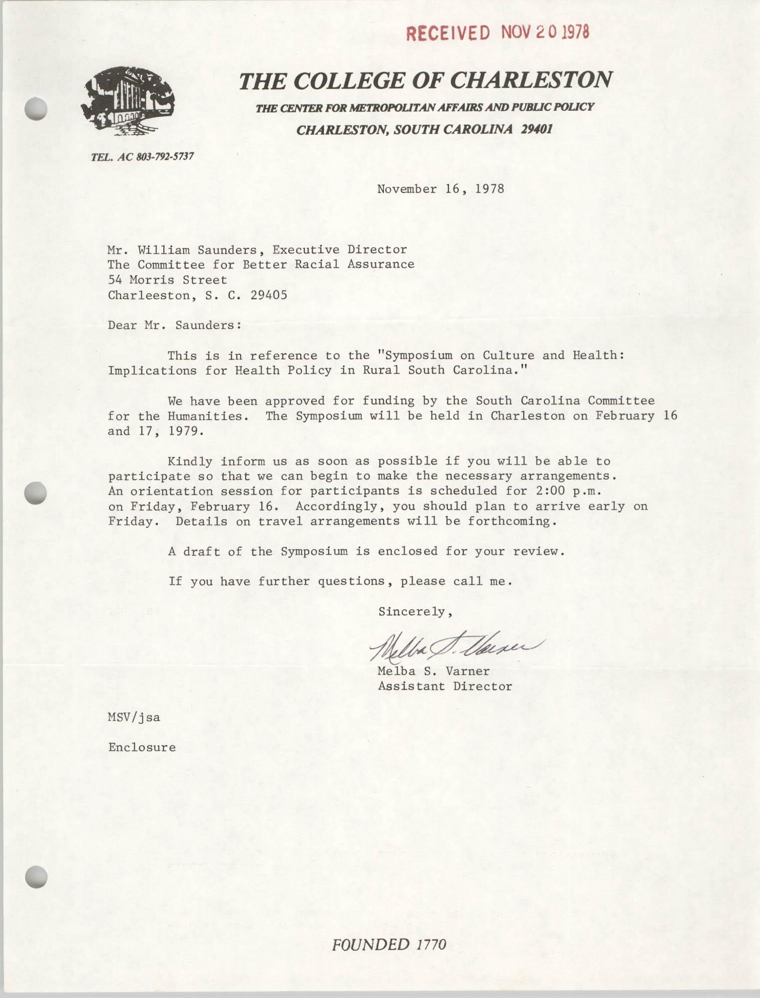 Letter from Melba S. Varner to William Saunders, November 16, 1978