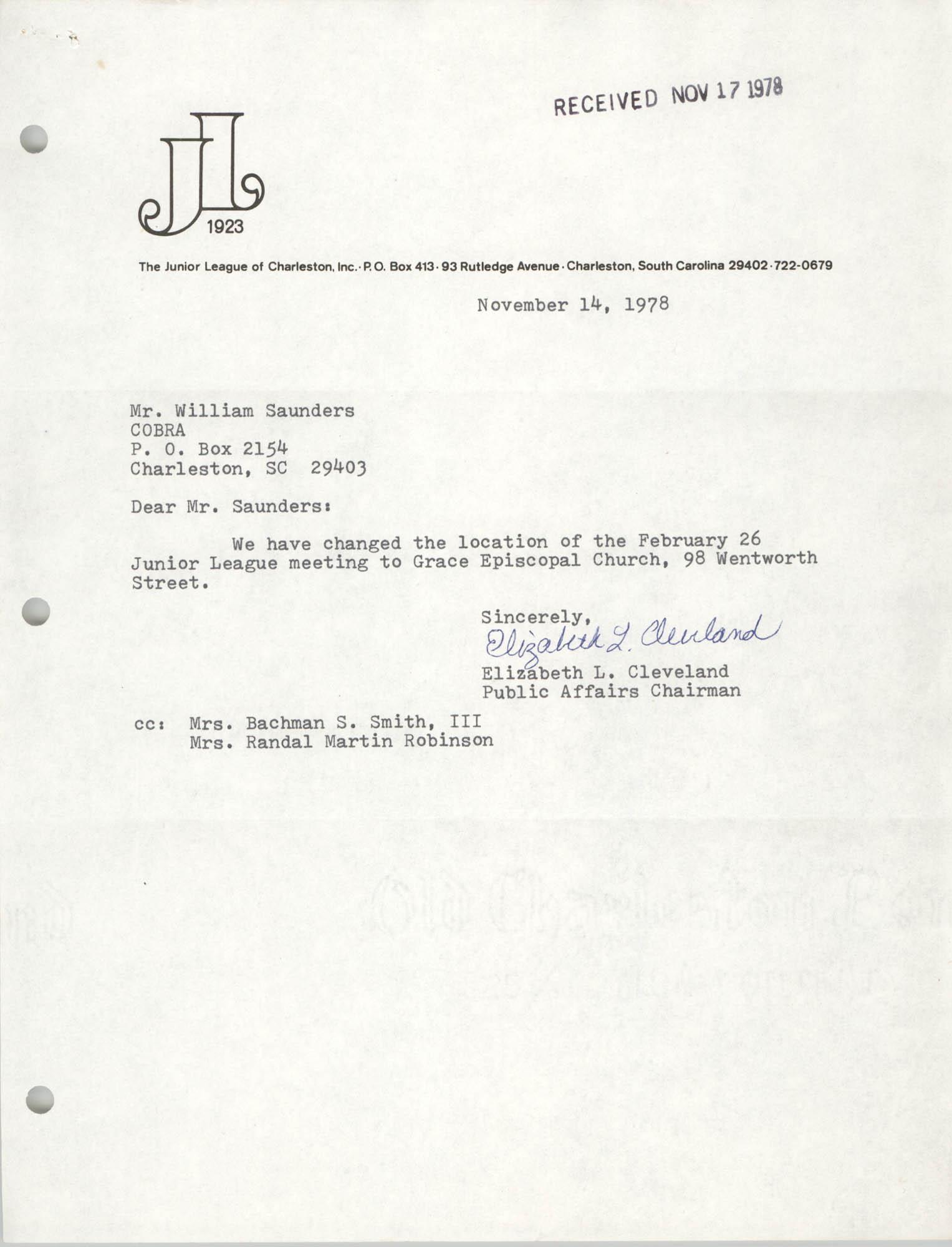 Letter from Elizabeth Cleveland to William Saunders, November 14, 1978