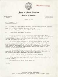 State of South Carolina Office of the Governor Memorandum, August 8, 1979
