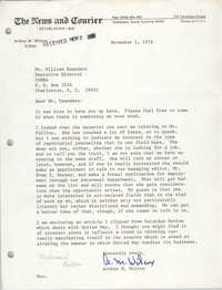 Letter from Arthur M. Wilcox to William Saunders, November 1, 1978