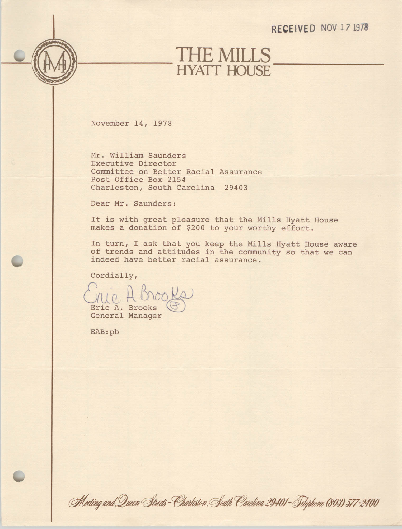Letter from Eric A. Brooks to William Saunders, November 14, 1978