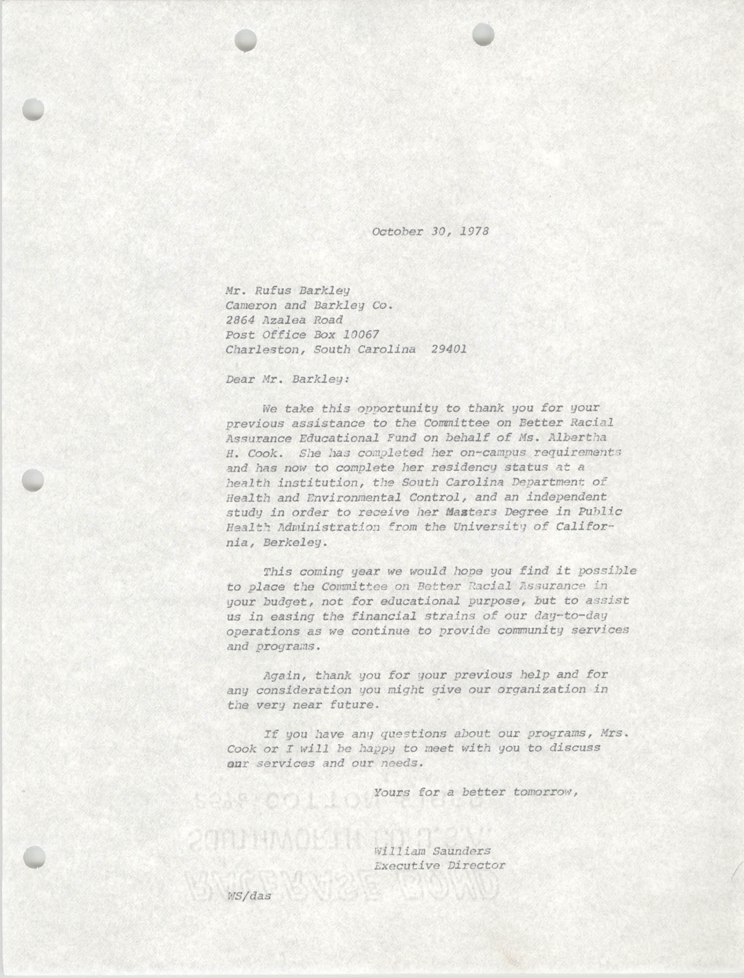 Letter from William Saunders to Rufus Barkley, October 30, 1978