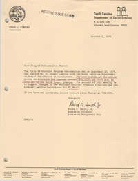 Letter from David N. Smith, Jr., October 2, 1979