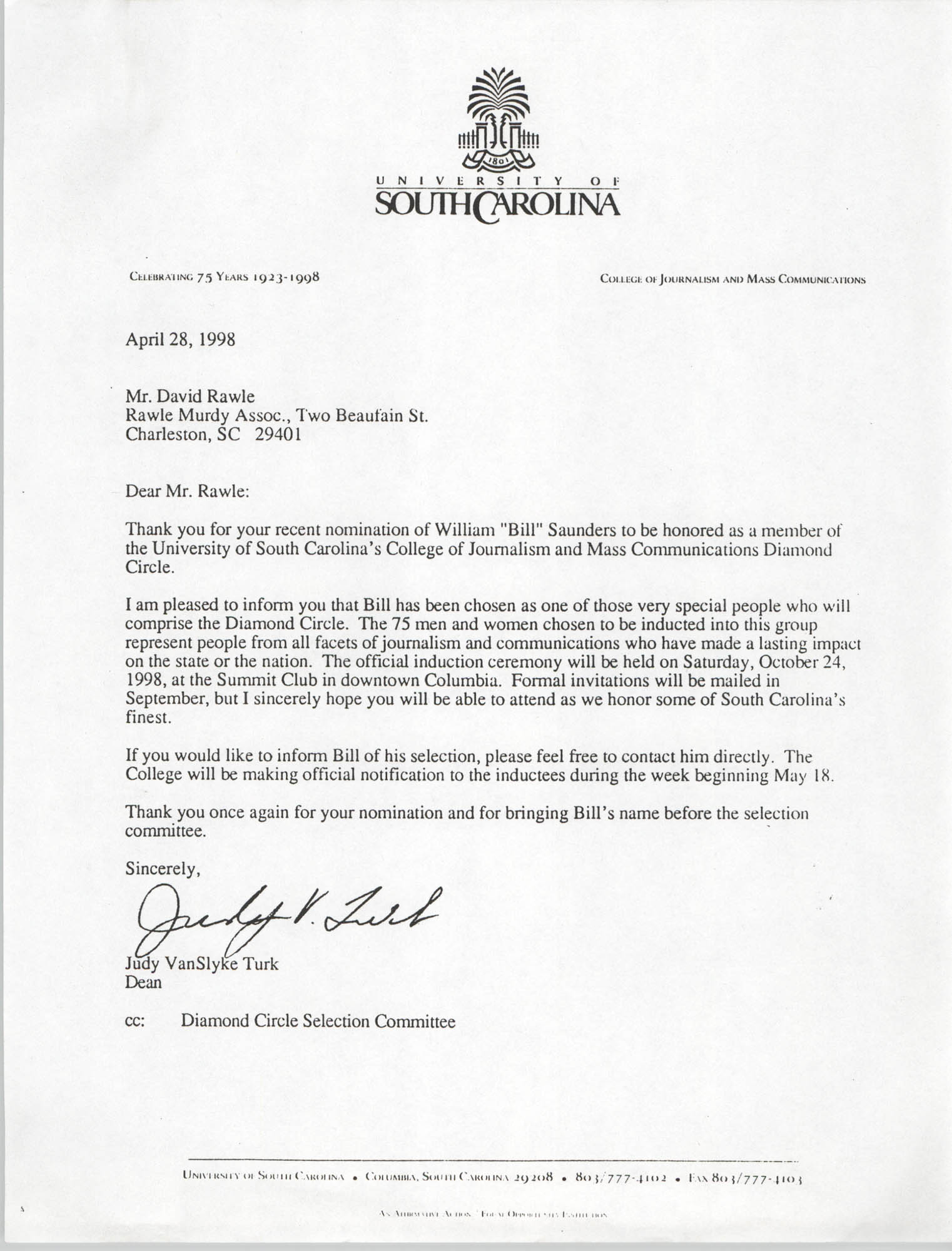Letter from Judy VanSlyke Turk to David Rawle, April 28, 1998