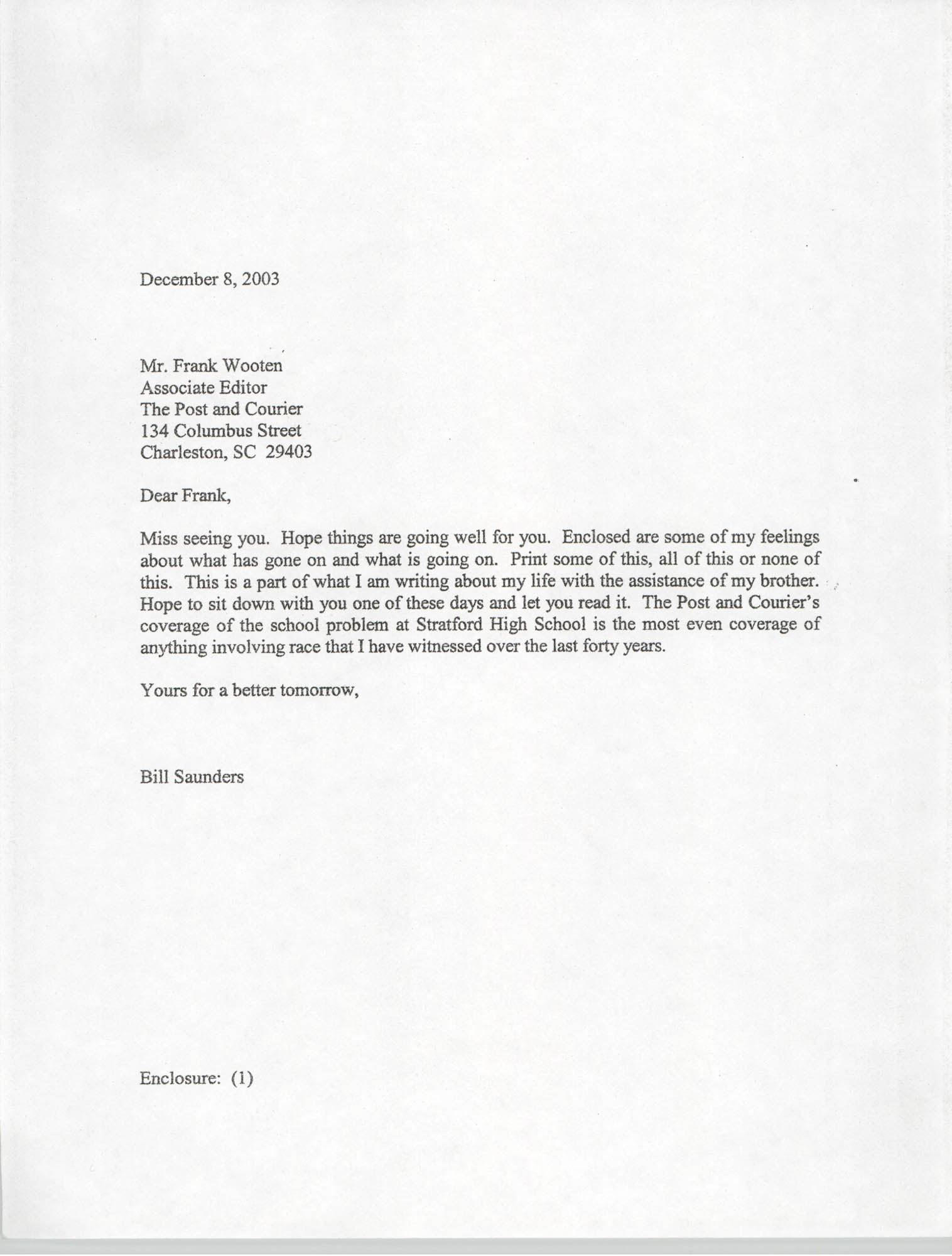 Letter from Bill Saunders to Frank Wooten, December 9, 2003