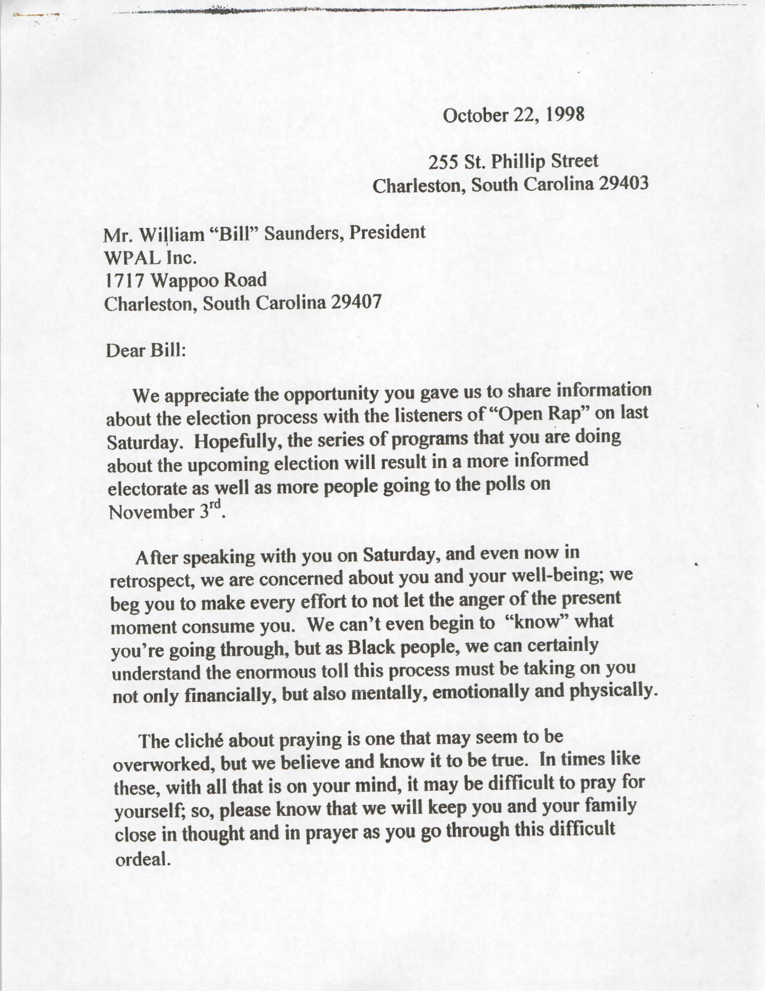 Letter from John L. Chisolm and Carolyn Lecque Collins to William Saunders, October 22, 1998