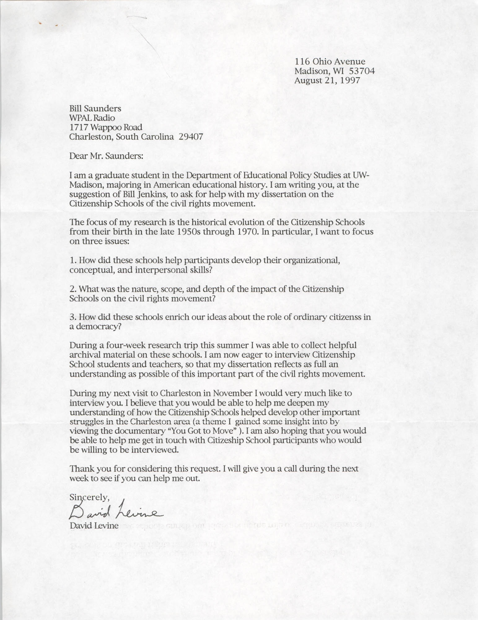 Letter from David Levine to William Saunders, August 21, 1997