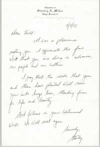 Letter from Stanley A. Miller to William Saunders, September 7, 1995
