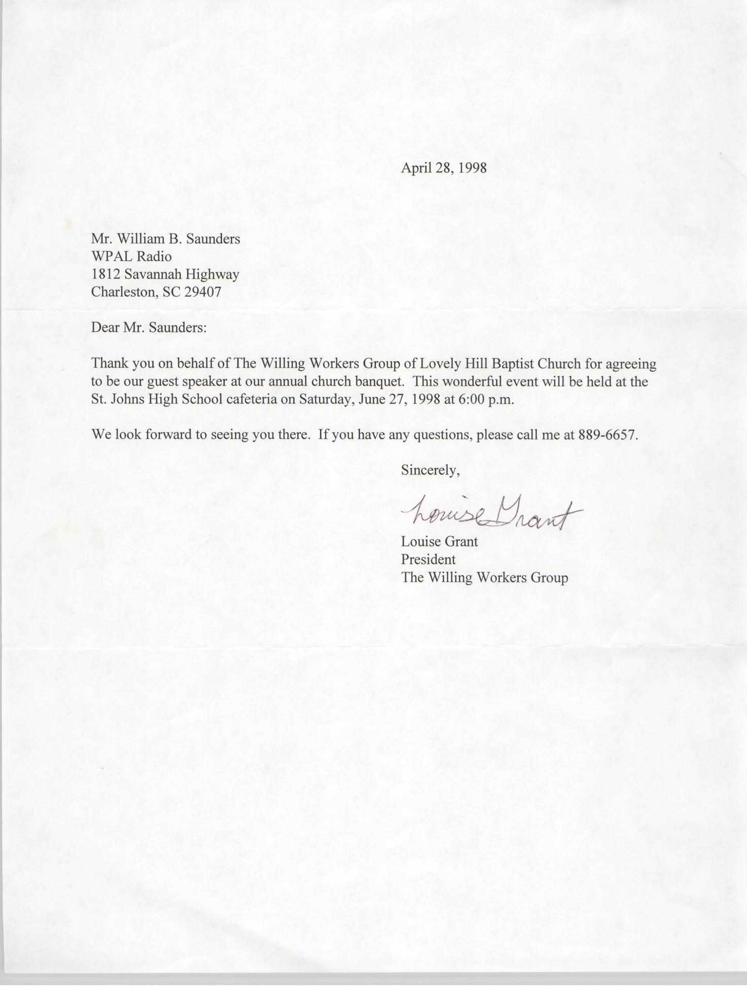 Letter from Louise Grant to William Saunders, August 8, 1979
