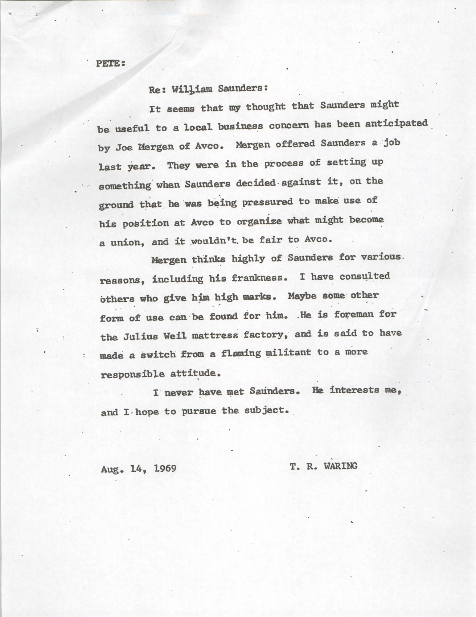 Letter from T. R. Waring to