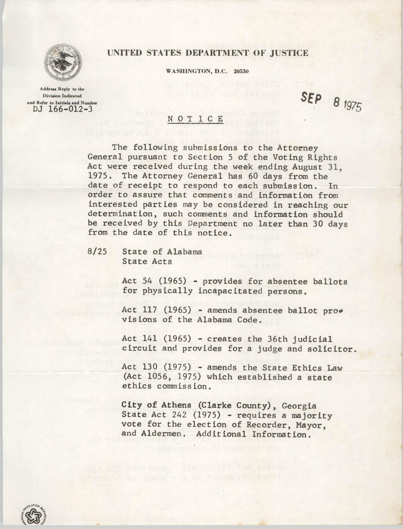 United States Department of Justice Notice, September 8, 1975
