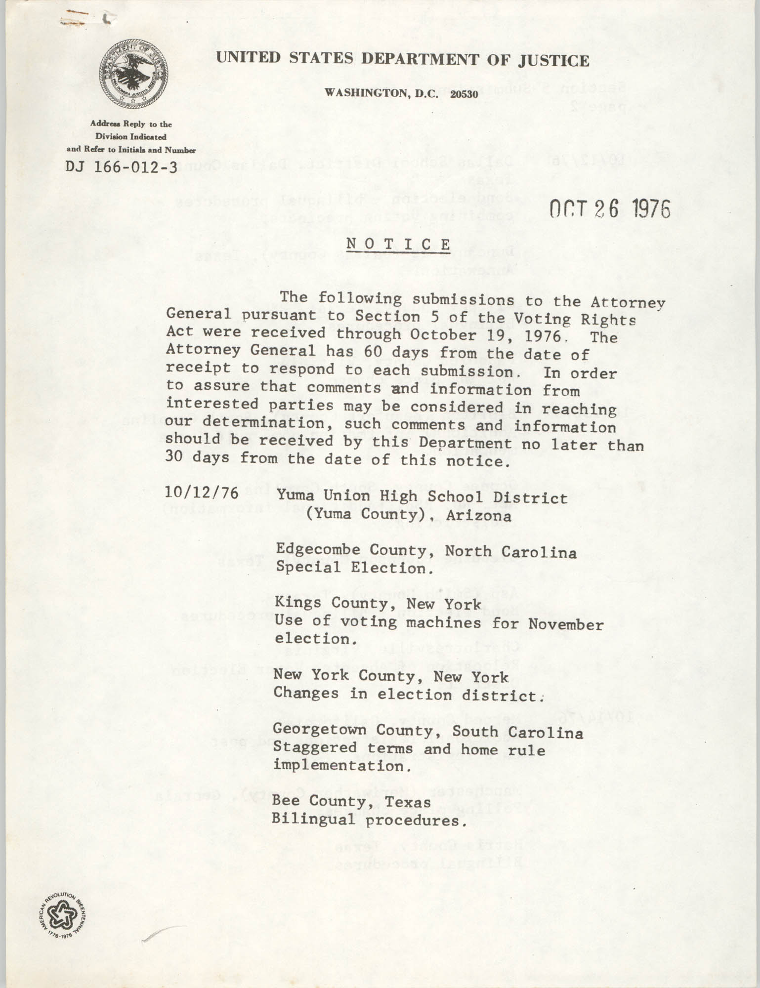 United States Department of Justice Notice, October 26, 1975