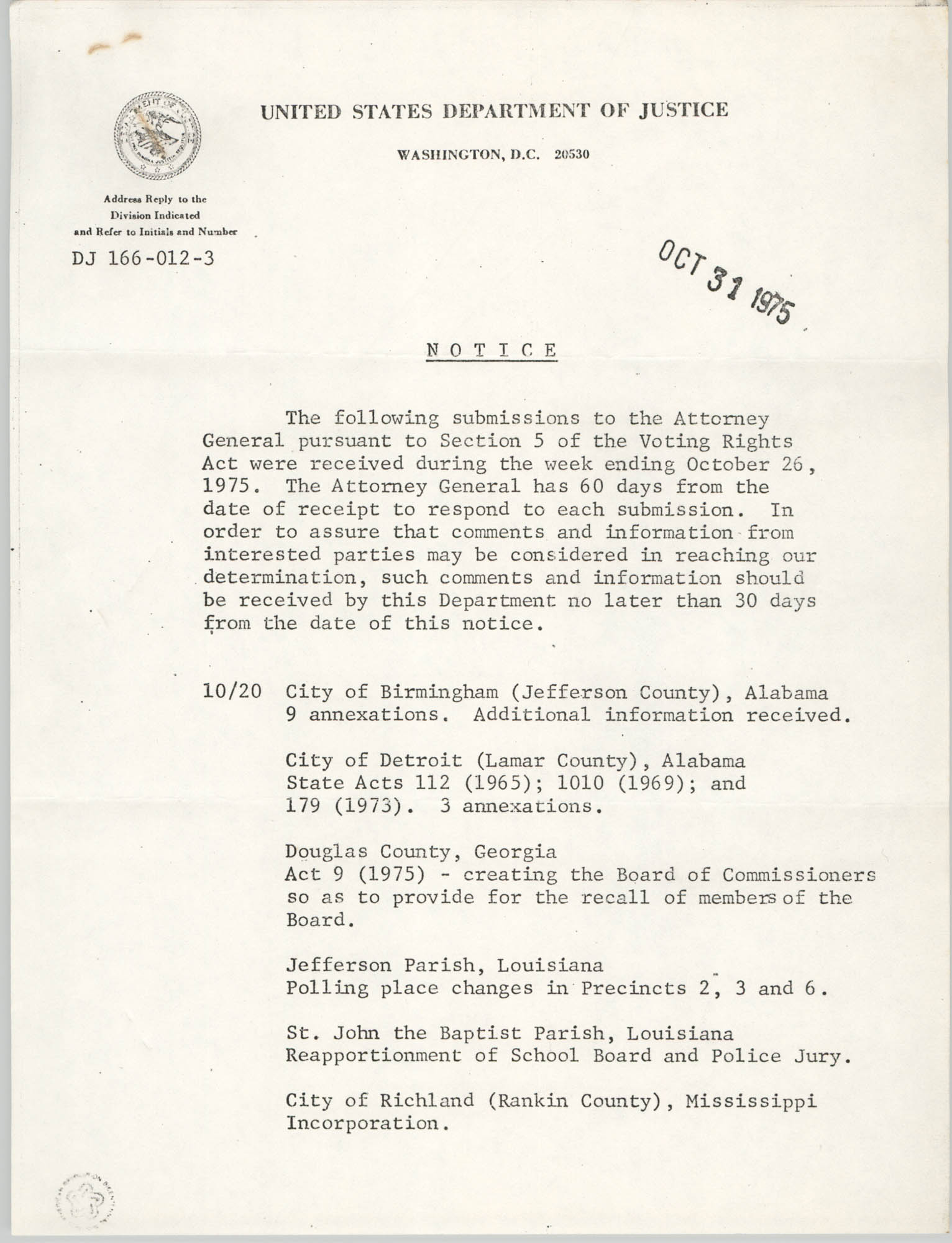United States Department of Justice Notice, October 31, 1975