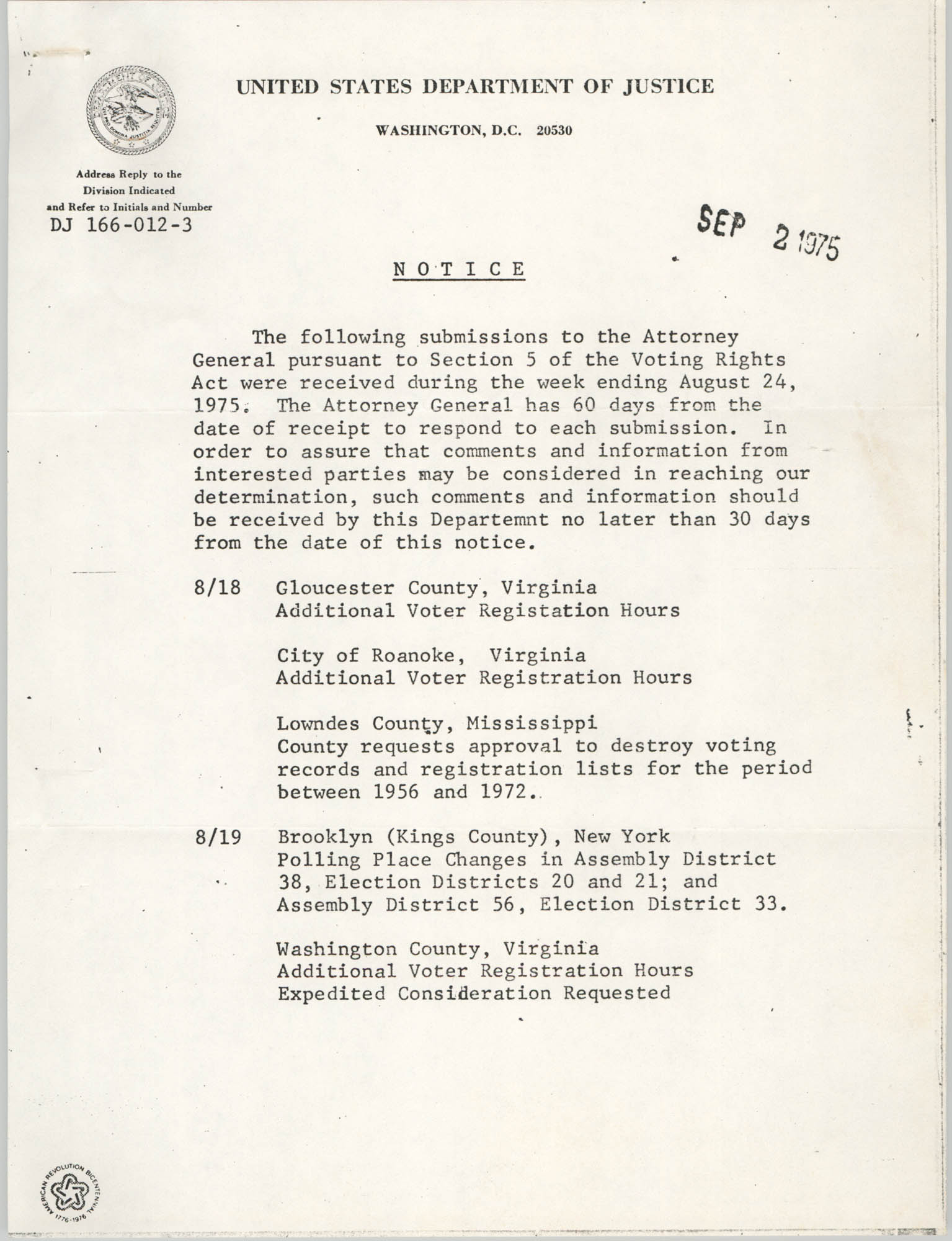 United States Department of Justice Notice, September 2, 1975