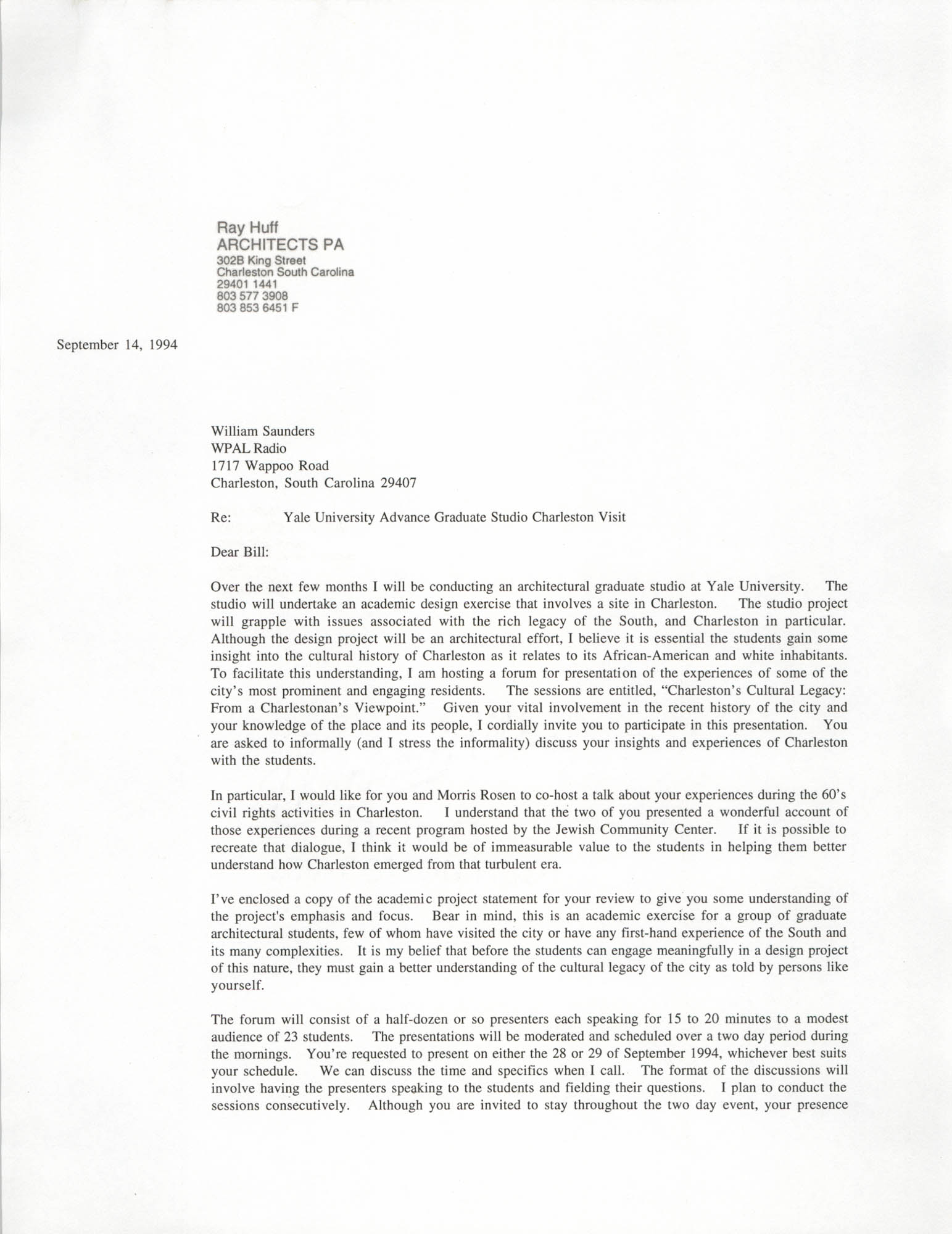 Letter from Ray Huff to William Saunders, September 14, 1994
