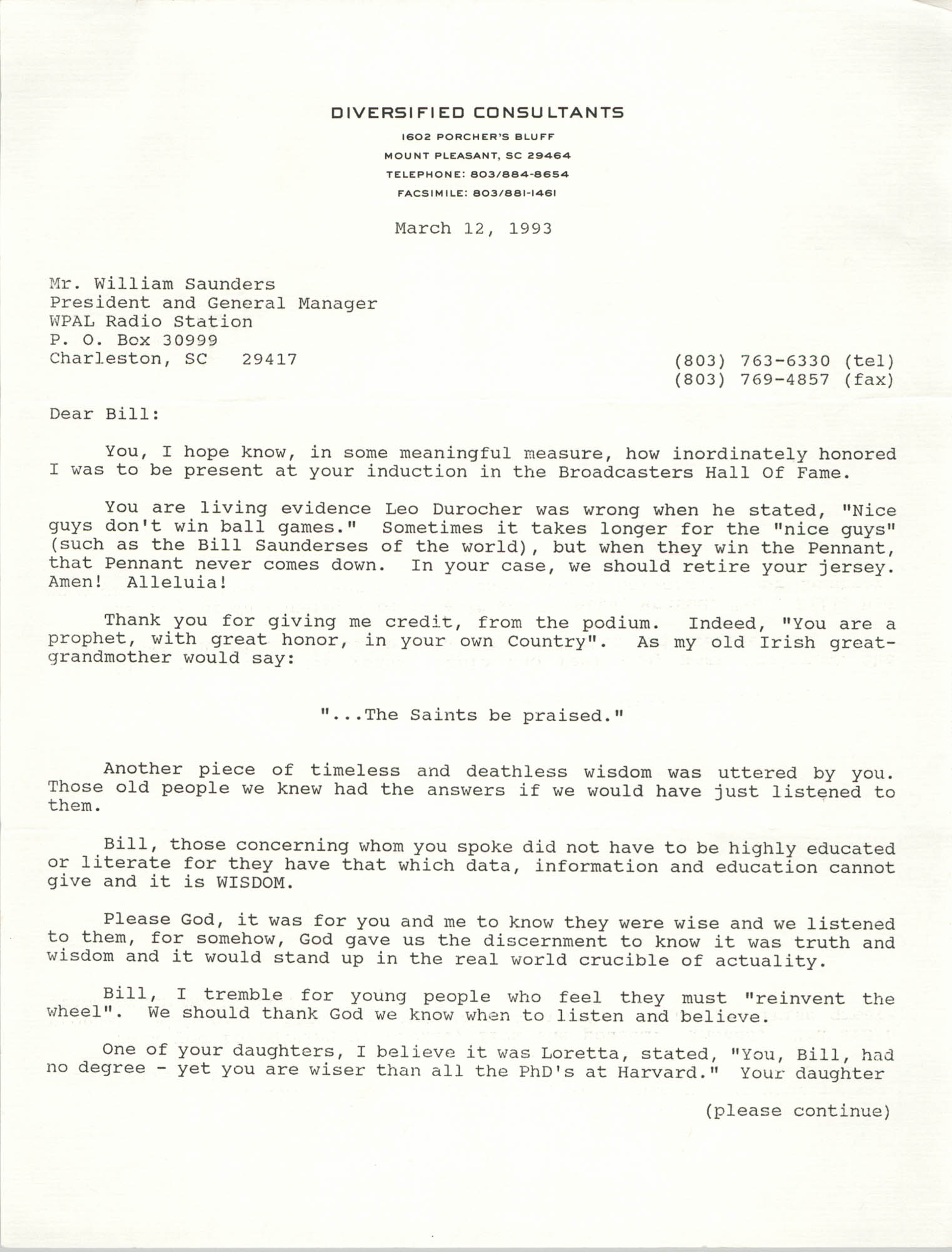 Letter from J. F. Mahoney to William Saunders, March 12, 1993