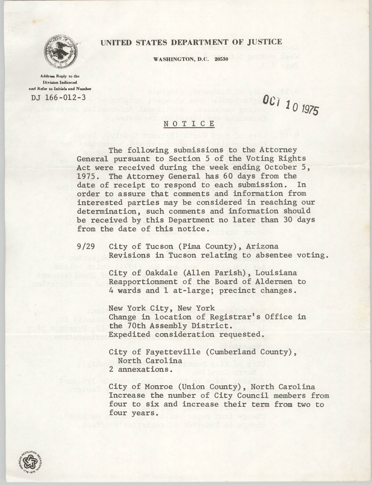 United States Department of Justice Notice, October 10, 1975