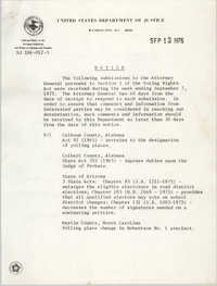 United States Department of Justice Notice, September 12, 1975