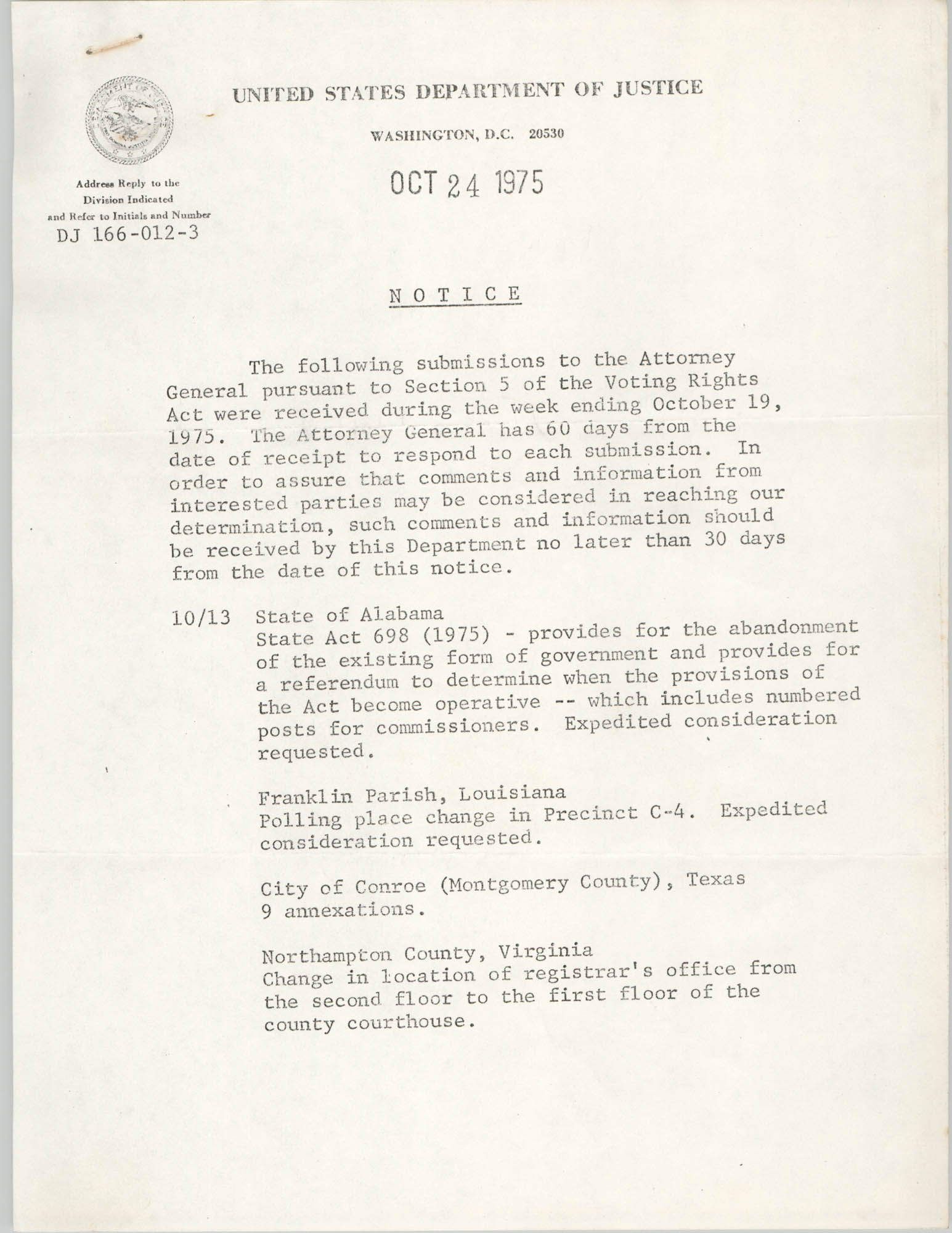 United States Department of Justice Notice, October 24, 1975
