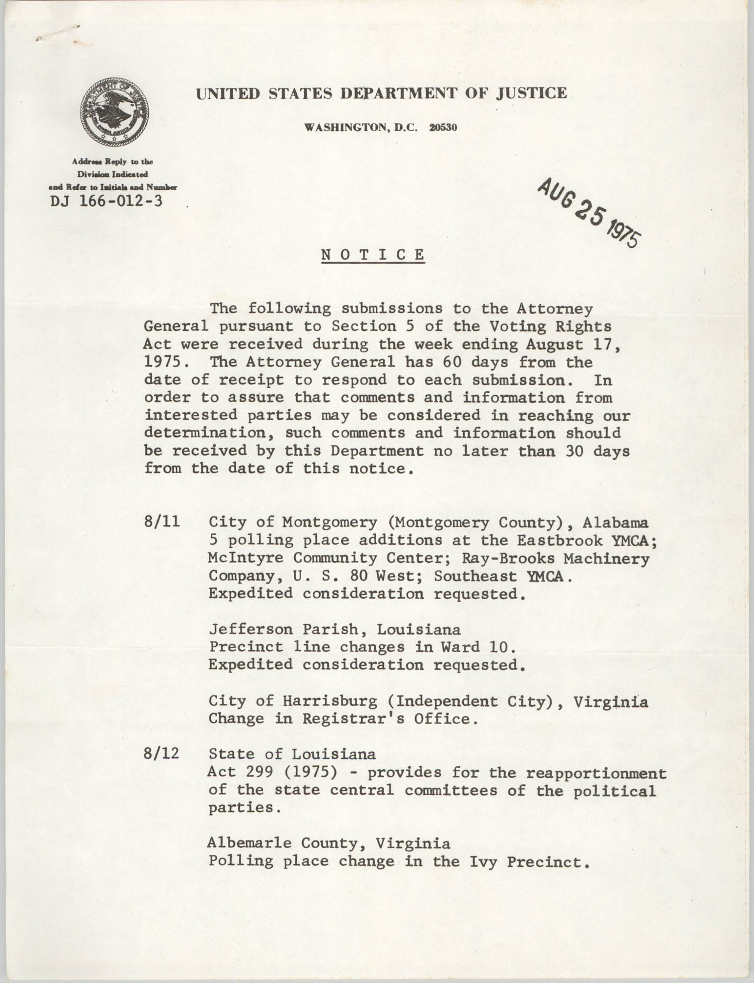 United States Department of Justice Notice, August 25, 1975