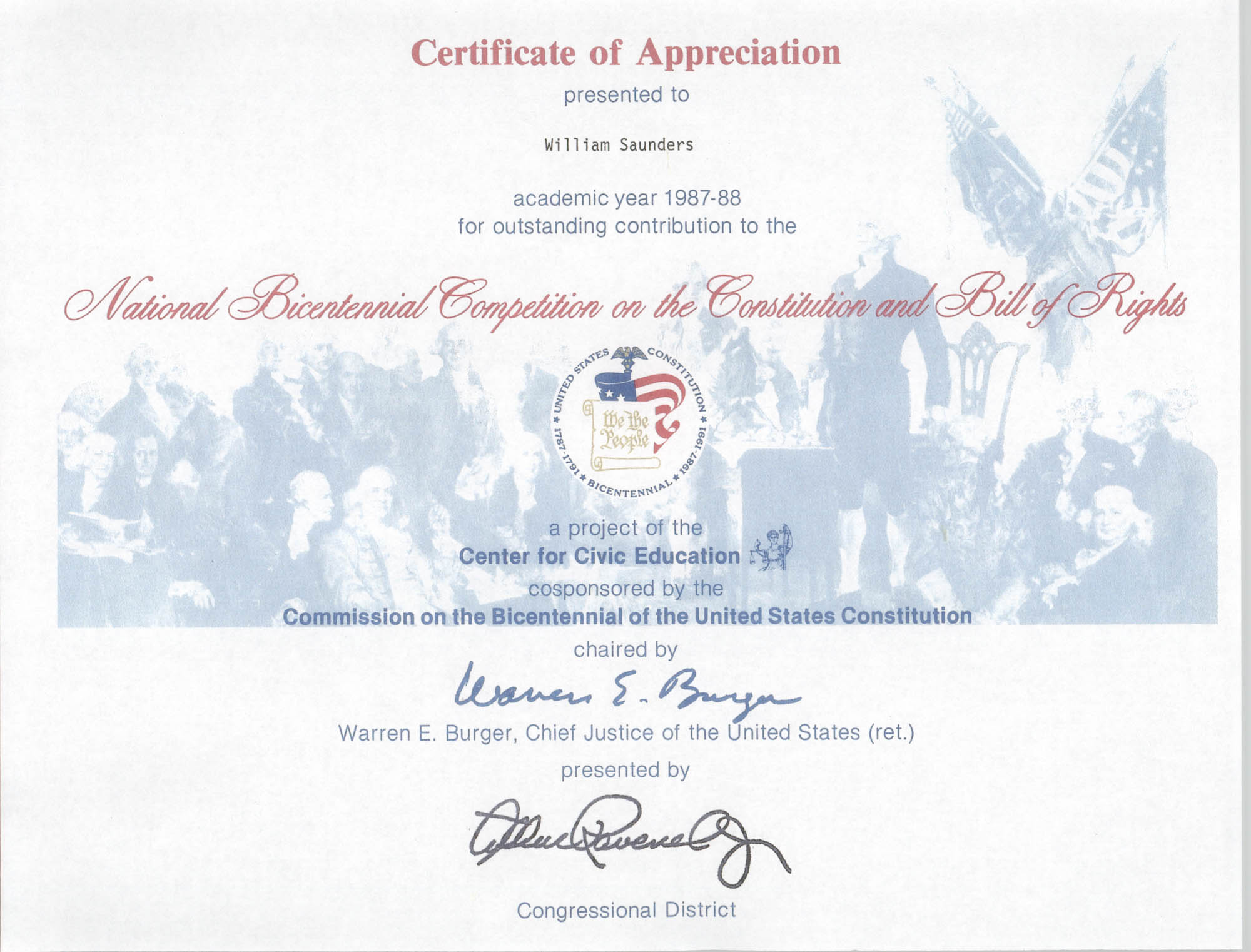 National Bicentennial Competition on the Constitution and Bill of Rights Certificate of Appreciation, William Saunders