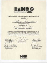 The National Association of Broadcasters Certificate, Bill Saunders