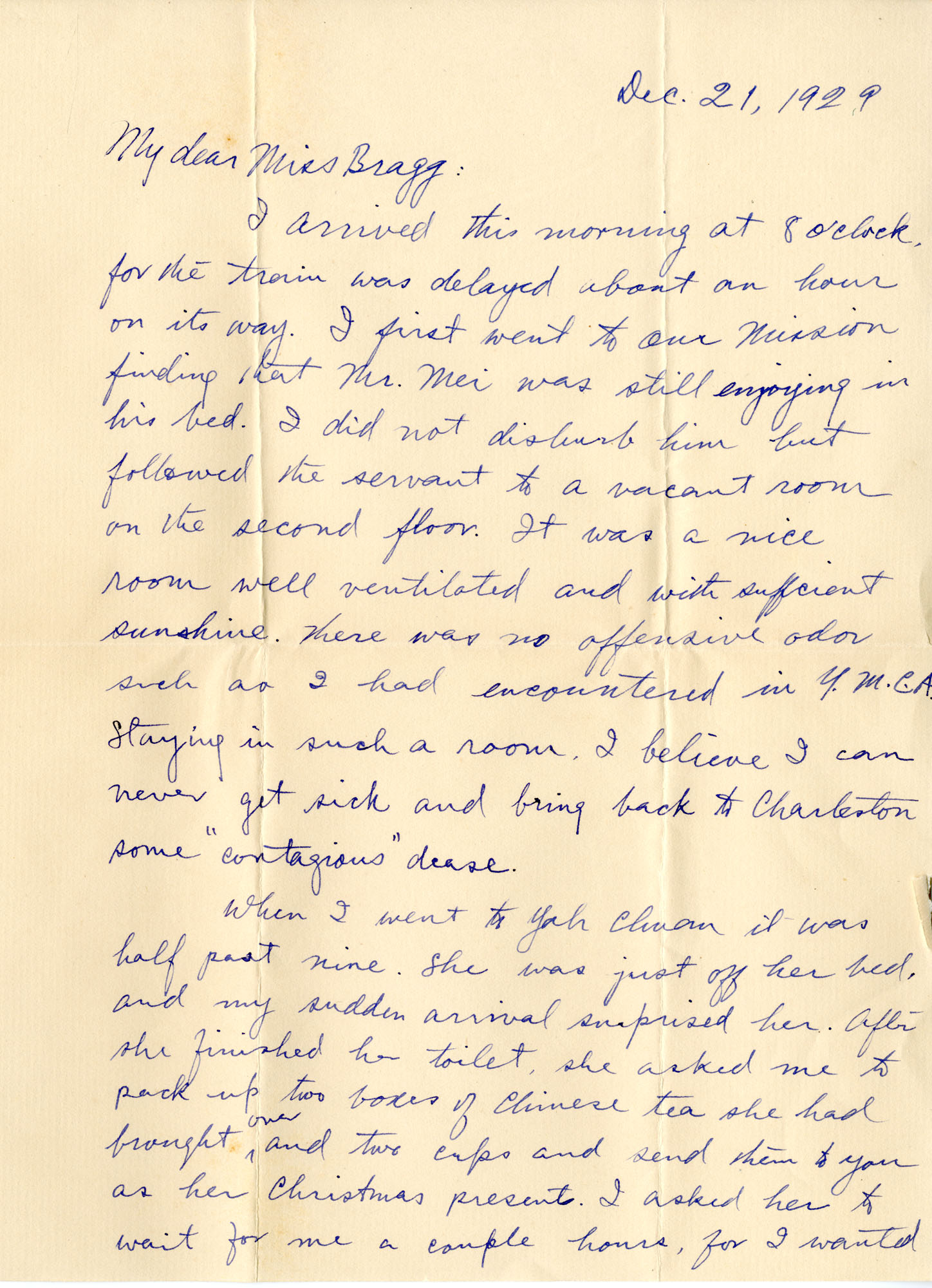 Letter from Fong Lee Wong to Laura M. Bragg, December 21, 1929