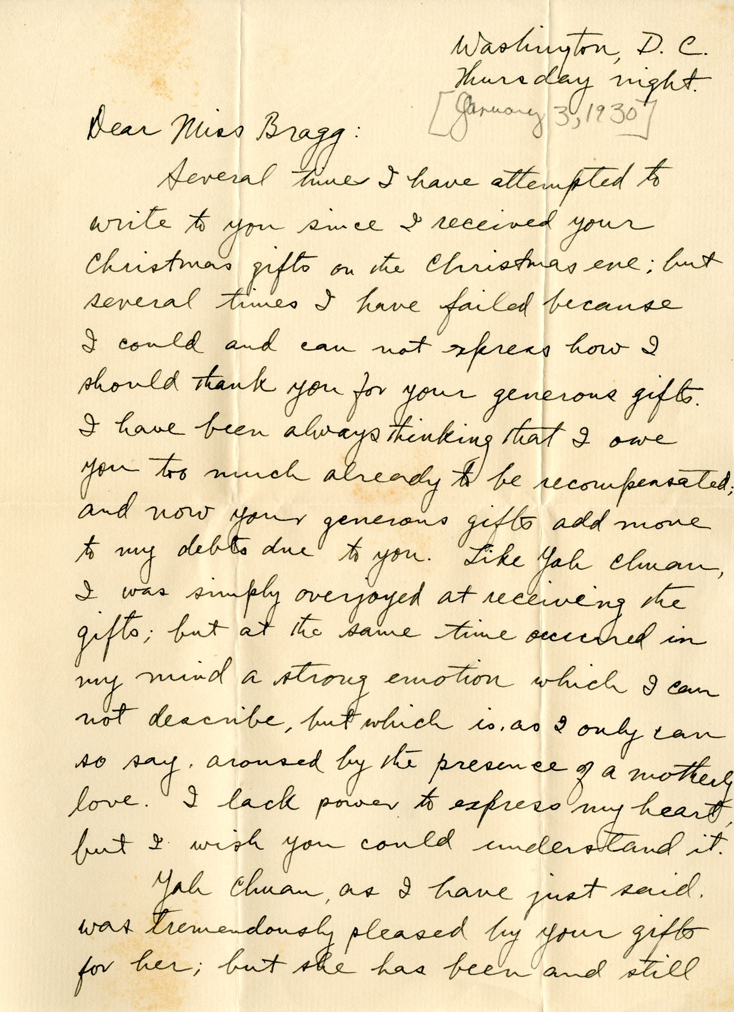 Letter from Fong Lee Wong to Laura M. Bragg, January 3, 1930
