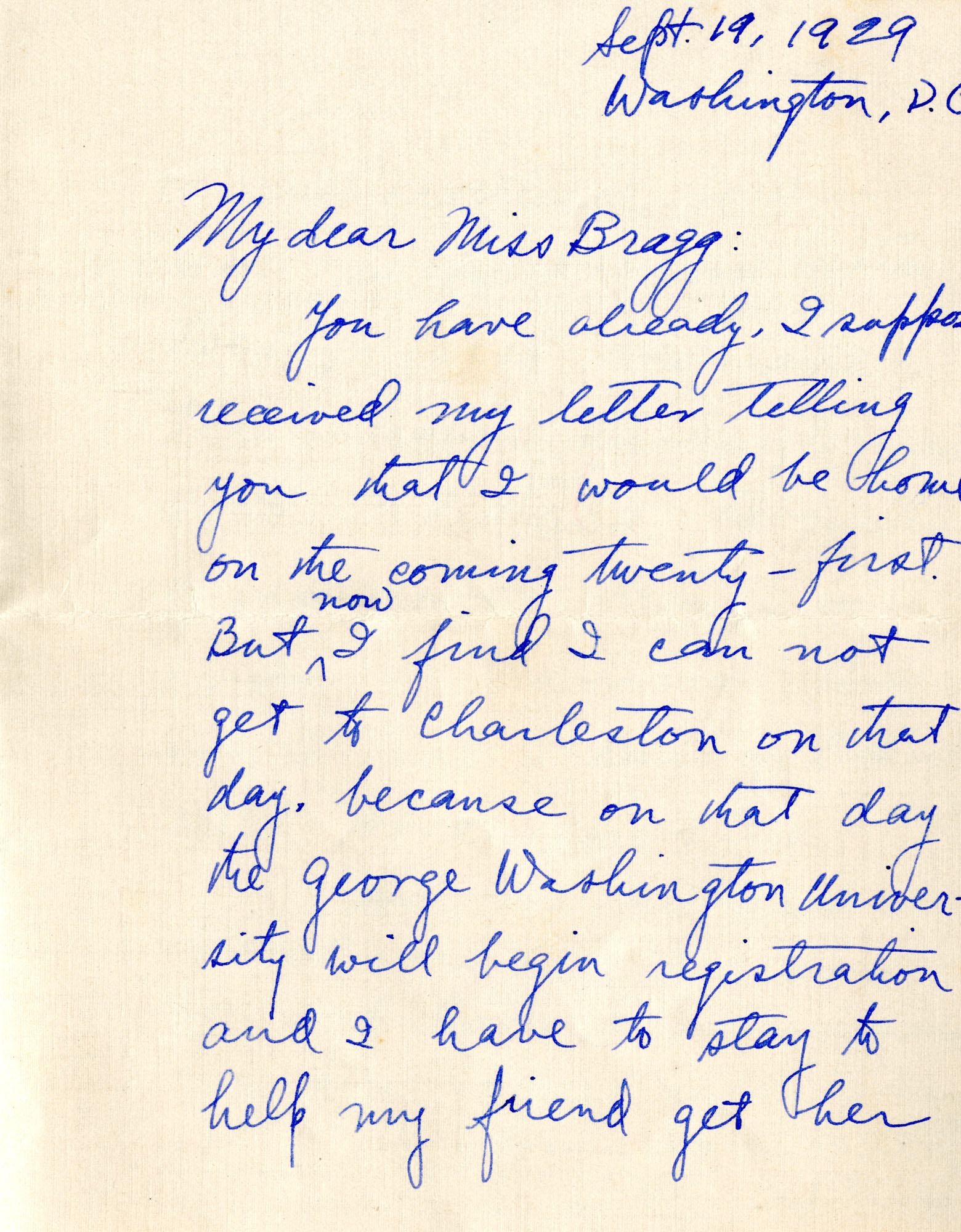 Letter from Fong Lee Wong to Laura M. Bragg, September 19, 1929