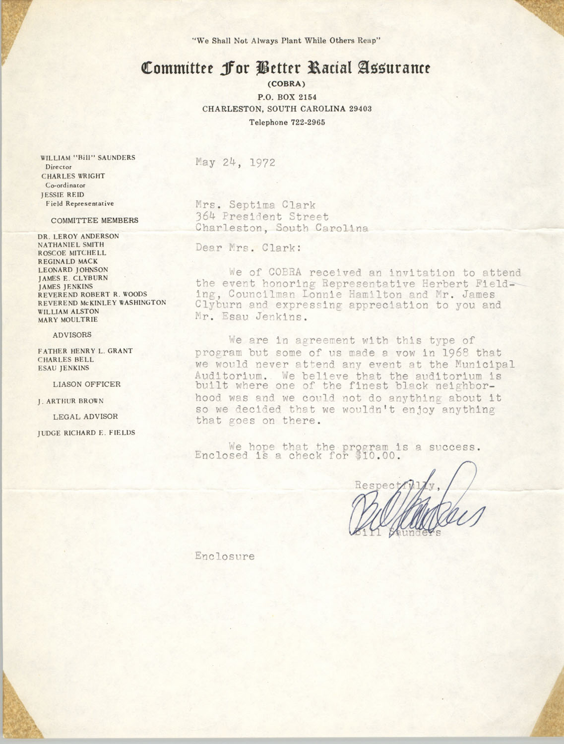 Letter from Bill Saunders to Septima P. Clark, May 24, 1972