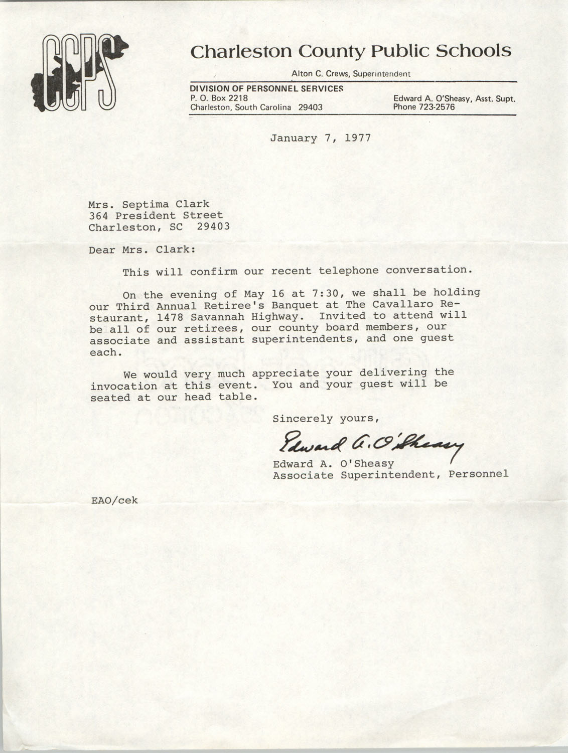 Letter from Edward A. O'Sheasy to Septima P. Clark, January 7, 1977