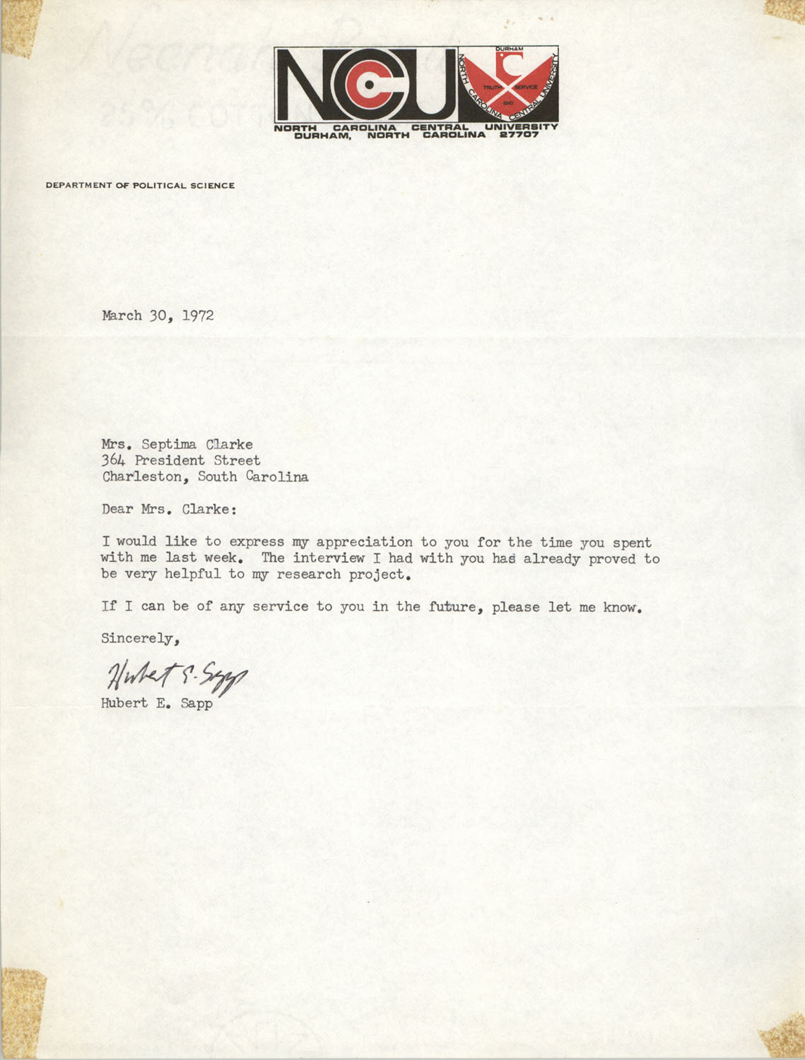 Letter from Hubert E. Sapp to Septima P. Clark, March 30, 1972