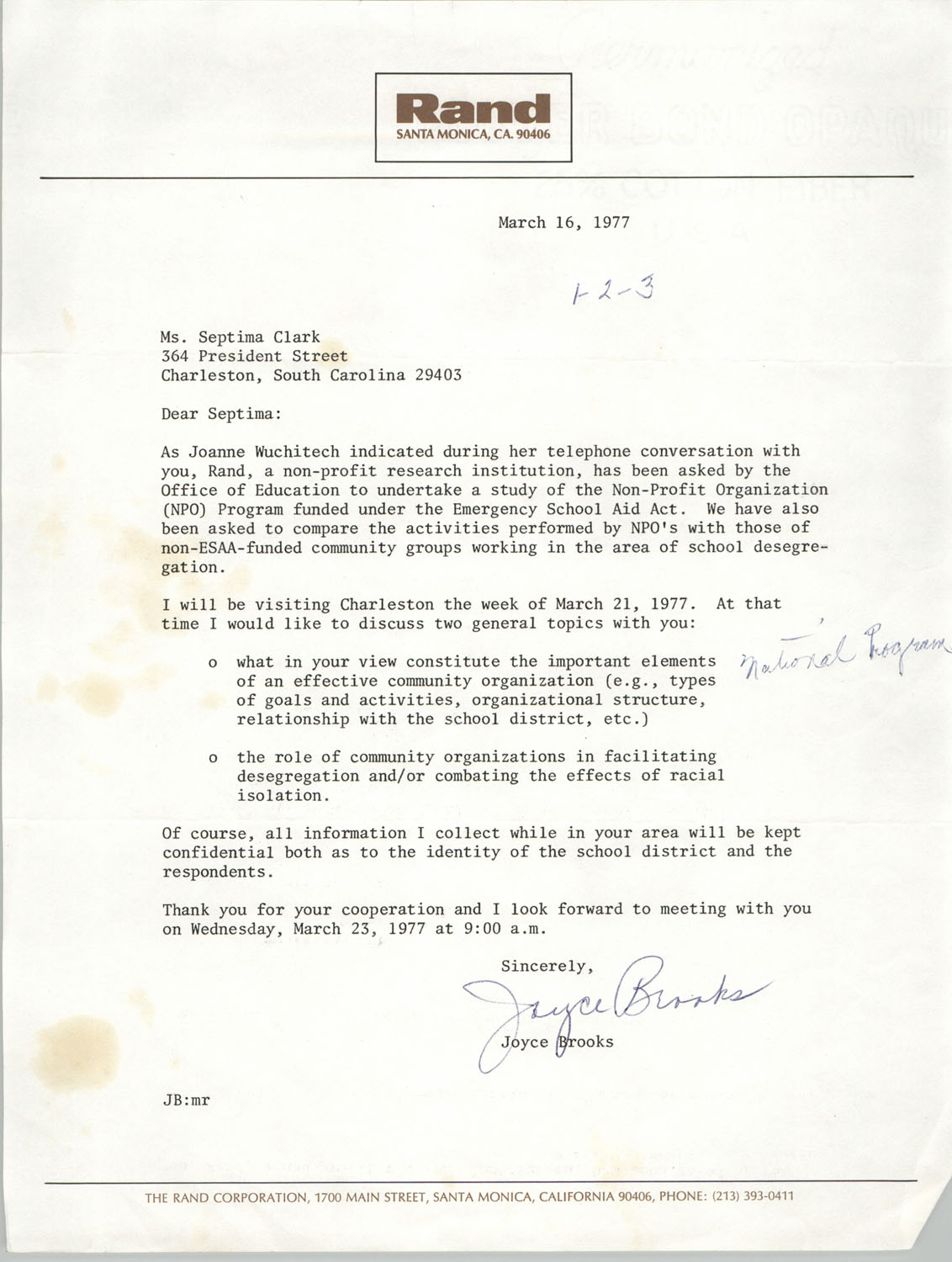 Letter from Joyce Brooks to Septima Clark, March 16, 1977
