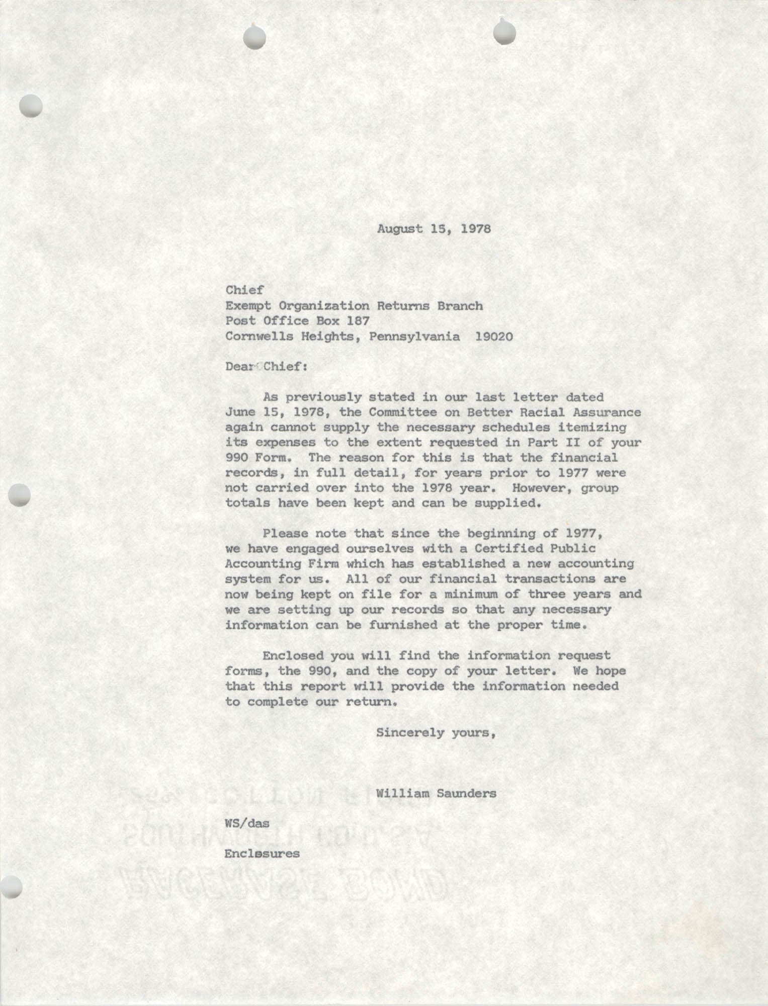 Letter from William Saunders to Exempt Organization Returns Branch, August 15, 1978