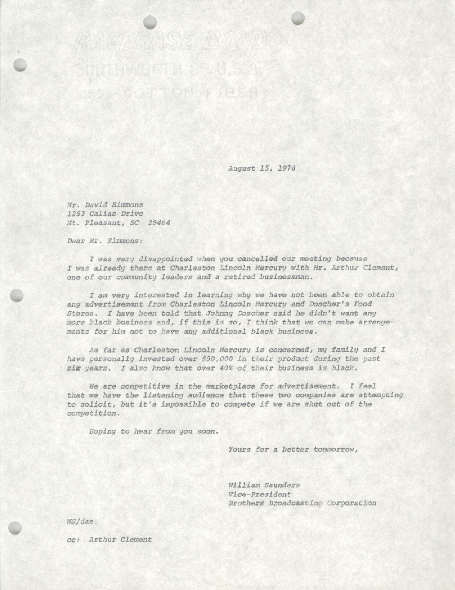 Letter from William Saunders to David Simmons, August 15, 1978